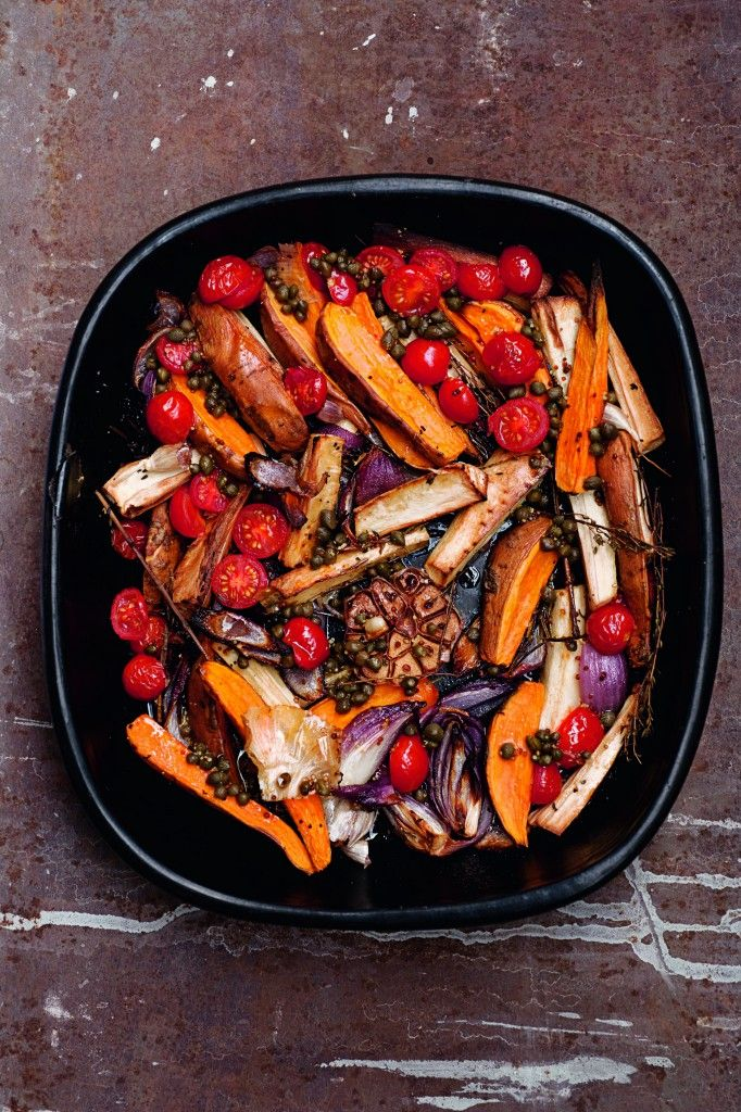 Yotam Ottolenghi's Roasted Parsnips & Sweet Potatoes w/ Caper Vinaigrette