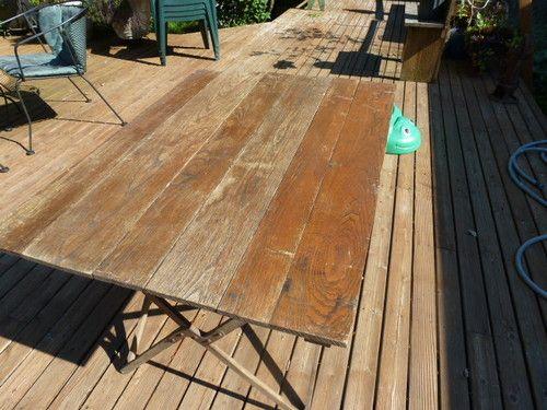 Vintage Oak Wood Folding Camp Table Primitive Antique