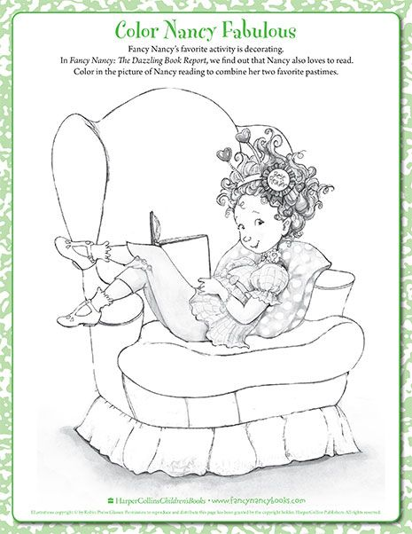 Bookworm Printable Coloring Sheet Fancy Nancy