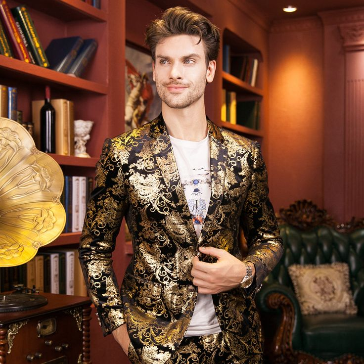 New Men Fashion Slim Casual Printed Embroidered Suits (Jacket+Pants) Male Wedding Host Singer Stage Performance Prom Blazer Suit
