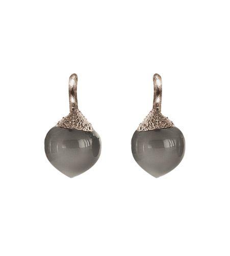 Ole Lynggaard Copenhagen Dew Drop Earrings (small) Grey Moonstone cabochon drops in 18ct white gold - Kennedy Jewellers