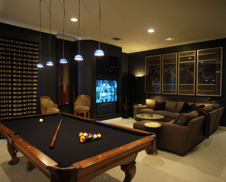 Dark media room with pool table id basement spaces for Small pool table room ideas
