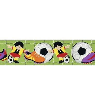 CENEFA INFANTIL KIDS CLUB RASCH C-471809. ¡A 23.90 EUROS! Para los amantes del fútbol, esta fantástica cenefa infantil ideal para decorar las habitaciones de los niños. Perfectas para combinarlas con los papeles pintados infantiles.
