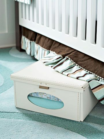 Hidden Storage - Under the crib is prime real estate. Whether you're storing clothes from the last season or for the next, peekaboo boxes stash them neatly. And with a simple crib skirt to conceal the wares, no one will ever know they're there.