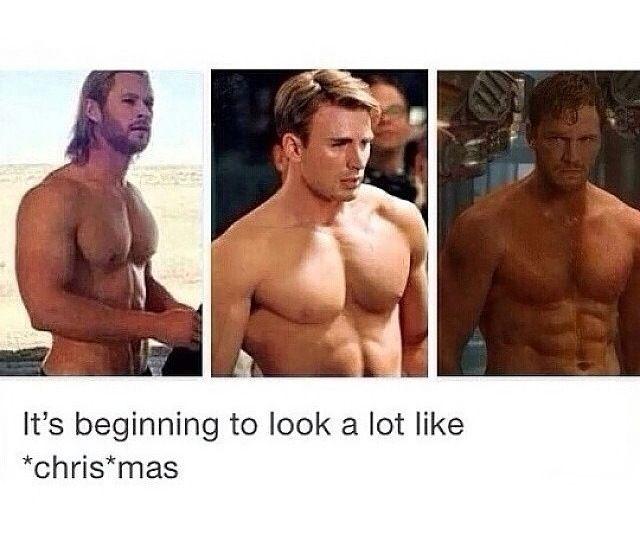Hahahaha!! Christmas - Chris Hemsworth, Chris Evans, and Chris Pratt