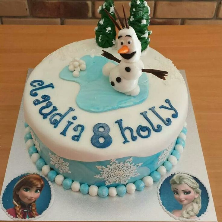 Frozen themed cake. Gluten free chocolate mud cake with chocolate ganache filling.  Happy 8th birthday to Claudia and Holly.