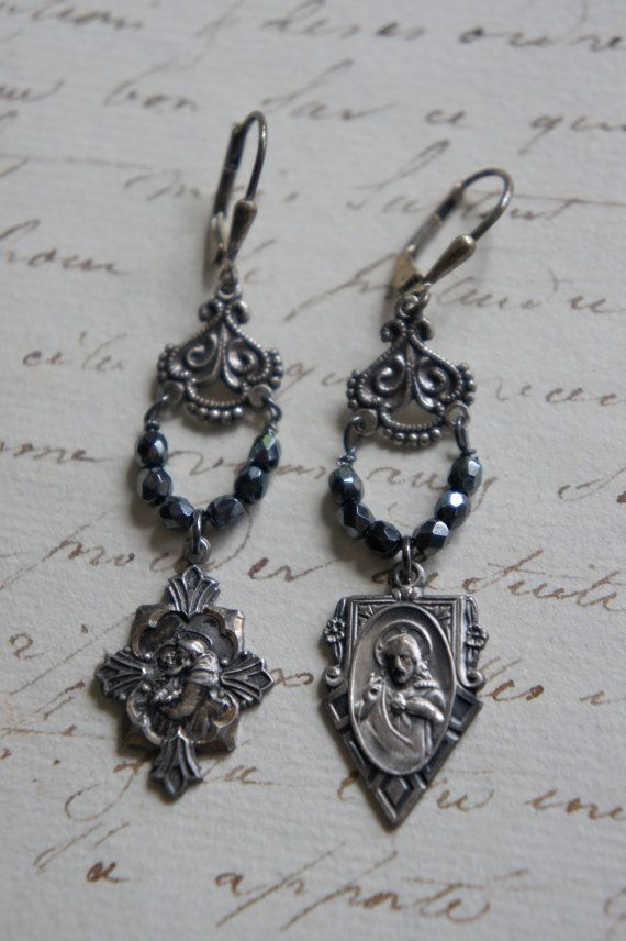 Vintage assemblage earrings religious medals vintage religious  assemblage jewelry - Simple Vintage by French Feather Designs.