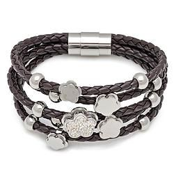 Charm Brown Leather  Bracelet