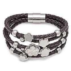 Charm Brown Leather  Bracelet