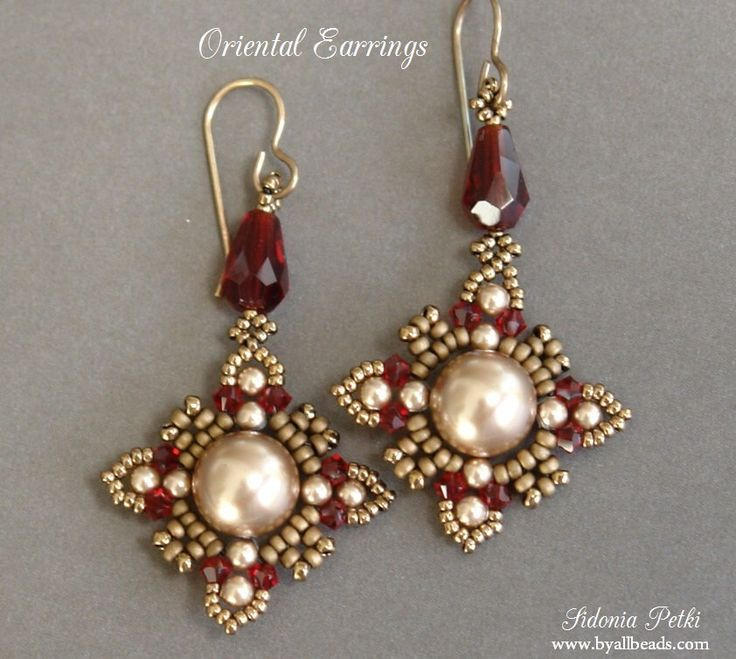 Beaded Earrings Tutorial - Oriental Style Earrings - Swarovski Crystal and Pearls Earrings - Earrings Pattern - Digital Download by ByAllBeads on Etsy https://www.etsy.com/listing/196741075/beaded-earrings-tutorial-oriental-style