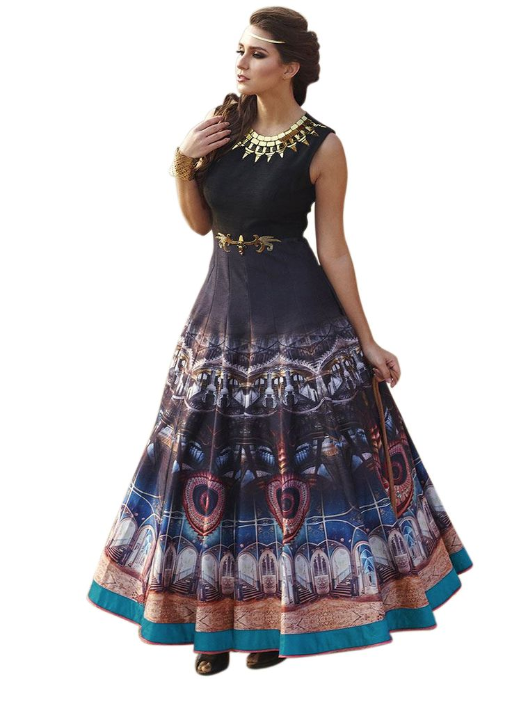Latest Designer Multicolour Printed Gown