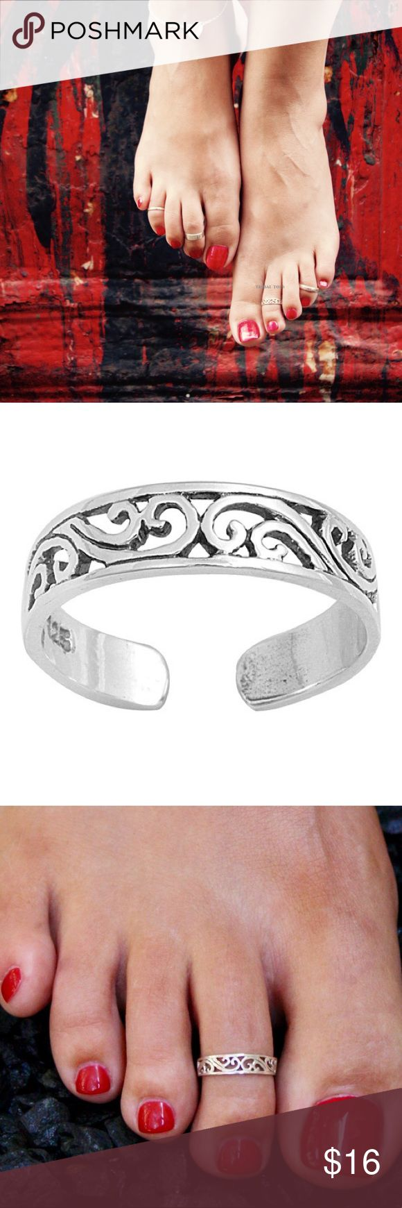 Sterling Silver Toe Ring - Filigree 925 Sterling Silver. New. Adjustable - one size fits all. Face is 4mm. Bundle and save 15%. Sexy feet need bling too! Purchase is for one ring.  stamped Jewelry Rings