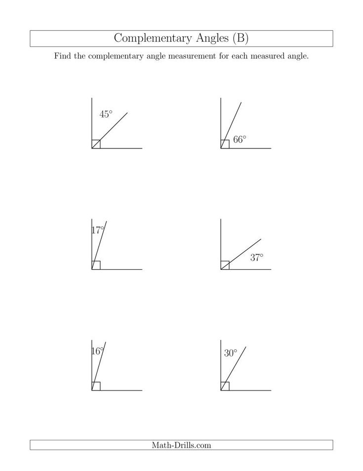 The Complementary Angle Relationships (B) Math Worksheet ...