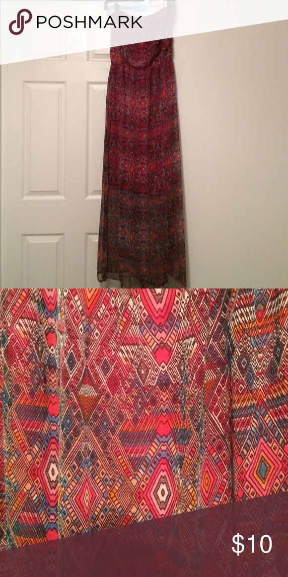 Earthbound Dress Hobo chic Maxi Dress. Strapless and fully lined. Print is warm and beautiful. EarthBound  Dresses Maxi