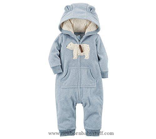 Baby Boy Clothes Carter's Baby Boys' One Piece Polar Bear Fleece Jumpsuit 6 Months