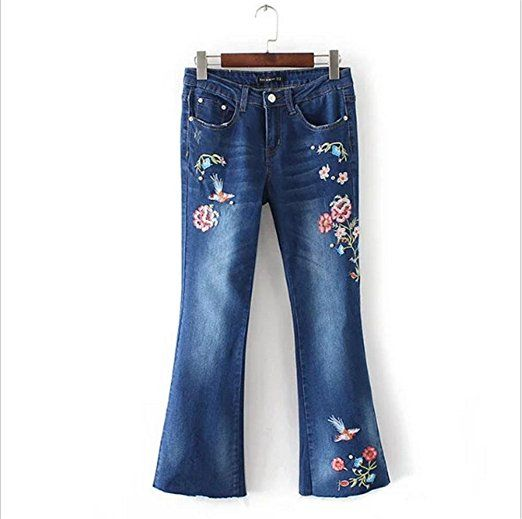 84e1b098a6e9 Frauen Jeans Stickerei Herbst Glocke-Hose Hose Denim Stretch Hole ...