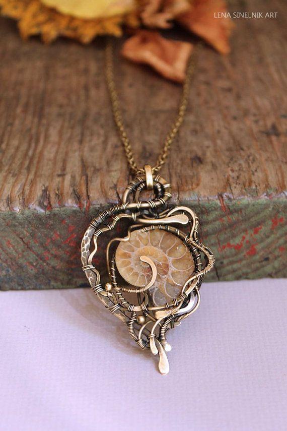 Brass pendant wirewrapped pendant handmade by LenaSinelnikArt