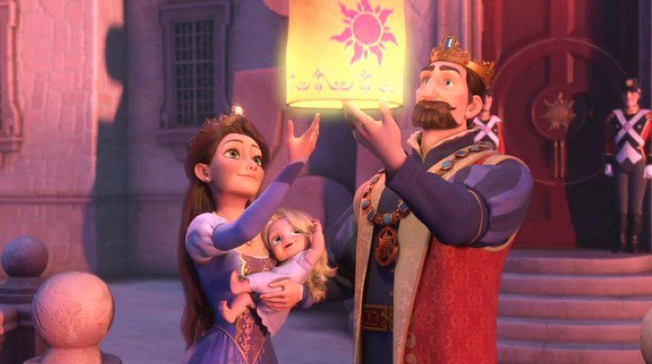 Rapunzel as a Baby | Rapunzel's parents, the King and Queen , with her as a baby.