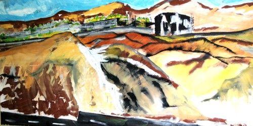 Sobre el desierto, serie de pinturas exhibidas en la sala Blanco de la Universidad de Antofagasta, expo personal de pintura al oleo, gran formato 2007