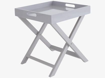 OKEN GREYS Lacquered Grey folding side table - HabitatUK £35 9also in white, black, yellow and orange)