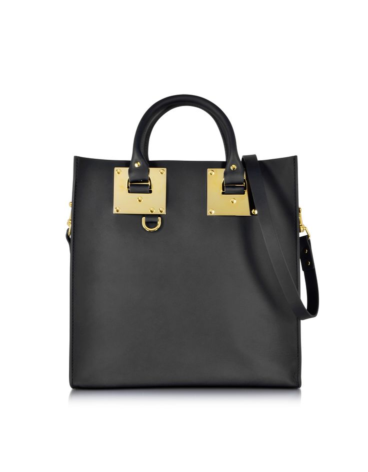 Sophie Hulme Black Large Leather Square Tote at FORZIERI