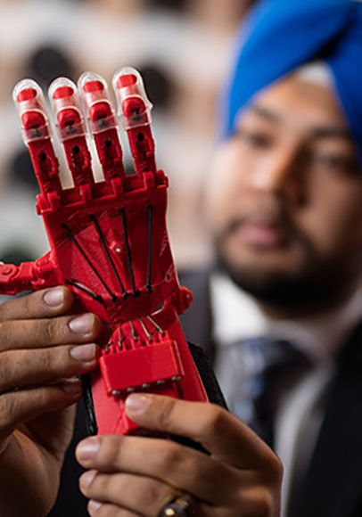 Meet Hargurdeep Singh an Ontario Co-op Student of the Year. Singh became an expert in Sheridan's cutting-edge 3D technology, and his work resulted in award-winning designs including a model of an exoskeleton hand for a man who had suffered nerve damage.