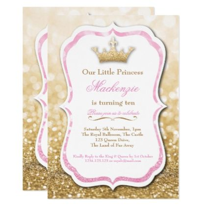 Pink and Gold Glitter Princess Party Invitation - birthday invitations diy customize personalize card party gift