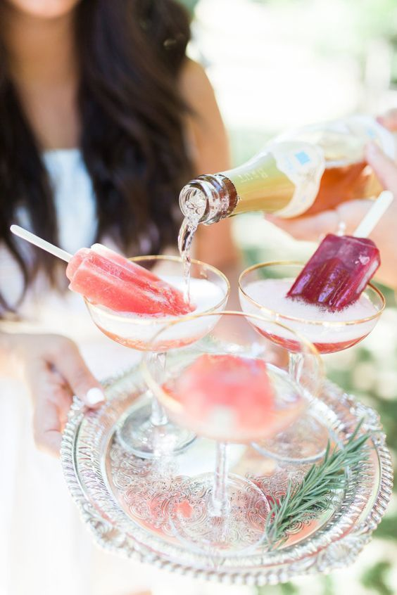 Champagne and popsicles: http://www.stylemepretty.com/living/2015/08/25/bridal-shower-picnic/ | Photography: Ainsley Rose - http://www.ainsleyrose.com/ bridal shower