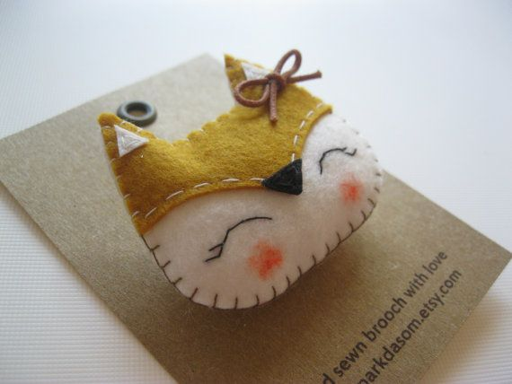 Hand sewn felt brooch Fox by parkdasom on Etsy, $15.00