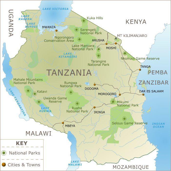Map Of Tanzania Africa Visit Tanzania Tanzania Safari Mount