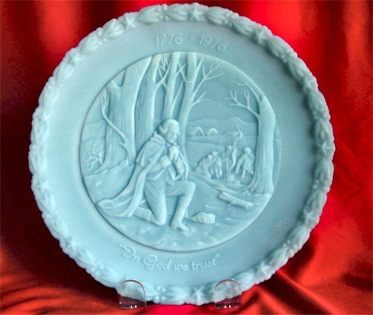 Fenton Blue Satin Federation of Women club Valley Forge  Valley Forge commenrative Plate.   Number three of 4, 1975   Front inscription reads,   In God We Trust