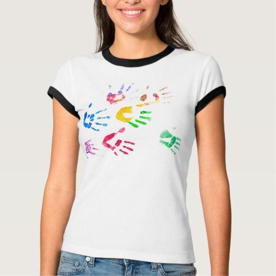Rainbow Color Arms Prints T-Shirt