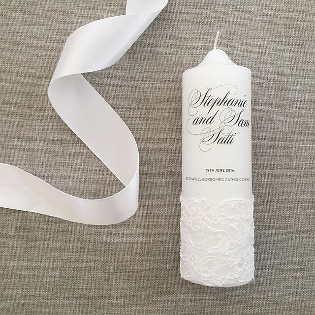 Congratulations to Stephanie & Sam on their wedding day! Wishing you both a lifetime of love and happiness @completeindulgencebeauty #wedding #love #ceremony #candle #lace #bespoke #church #handmade #weddingcandle #twofamiliesbecomeone