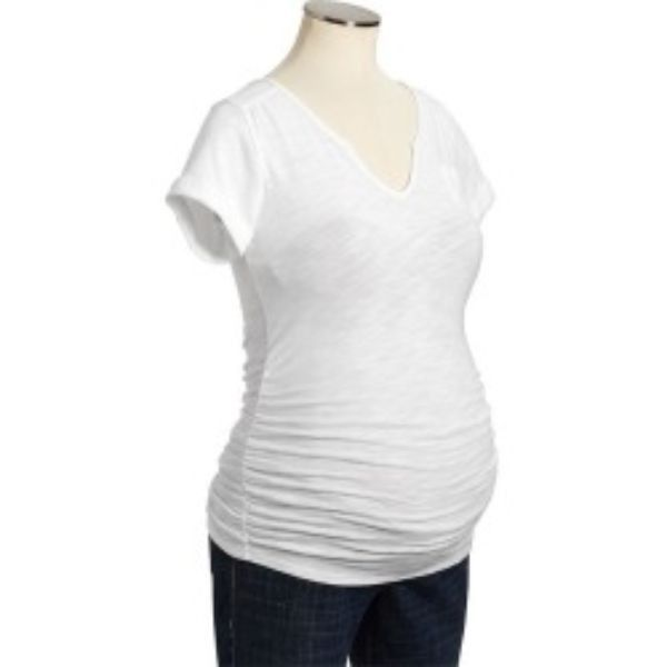 - White slub knit tee - Ruched sides, cuffed sleeves, front pocket - Cotton - Brand blacked out - Product #385