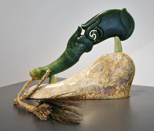 Tamaora Walker Kura Gallery Maori Art Design Aotearoa New Zealand Carving Pounamu Greenstone Te Ara Mauriora Pounamu Wahaika on base