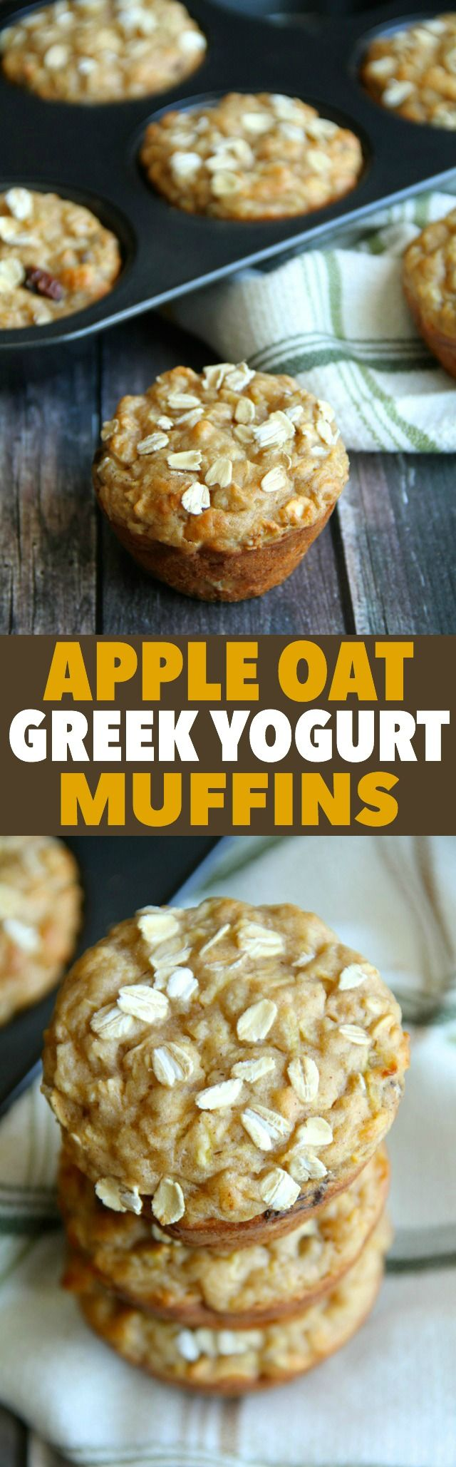 Apple Oat Greek Yogurt Muffins -- ridiculously soft and tender with NO butter or oil! A perfect breakfast or snack! || runningwithspoons.com #healthy #apple #muffins - substitute cooked apples for apple sauce