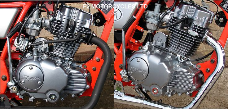 "Skyteam Ace 125 standard engine on the left, note all the ugly pipework and metal plug cap. F2 Motorcycles Ltd ""engine tidy"" on the right, all pipe work removed, SAS port blanked and black NGK cap fitted. This option can only be carried out with a non catalytic exhaust such as the chrome sports pipe shown. Find out more http://www.f2motorcycles.ltd.uk/motorcycles.html"