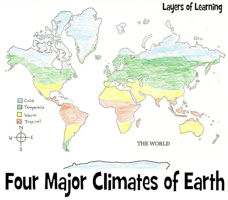 Four major climates of earth, a climate mapping activity from Layers of Learning.