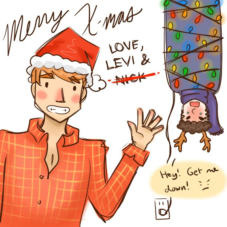 I'm sorry for this haha >_< X-mas doodle for my homie Candy, starring Levi and Nick from Fangirl by Rainbow Rowell.
