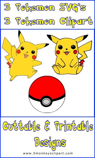 Love these Pokemon svg files! Pokeball and 2 pikachu ...
