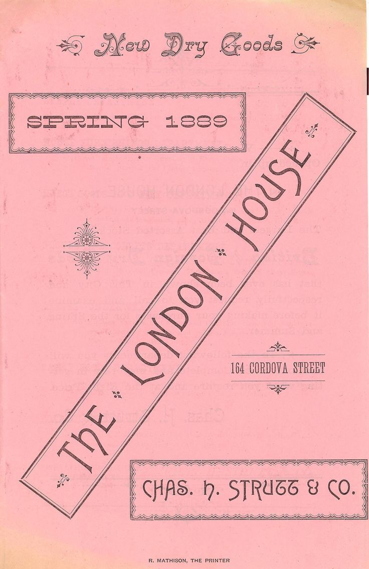Advertisement for The London House, Chas. H. Strutt & Co. Robert Mathison, printer. Vancouver, 1889.