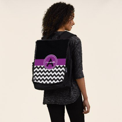Black Purple Chevron Backpack - monogram gifts unique custom diy personalize