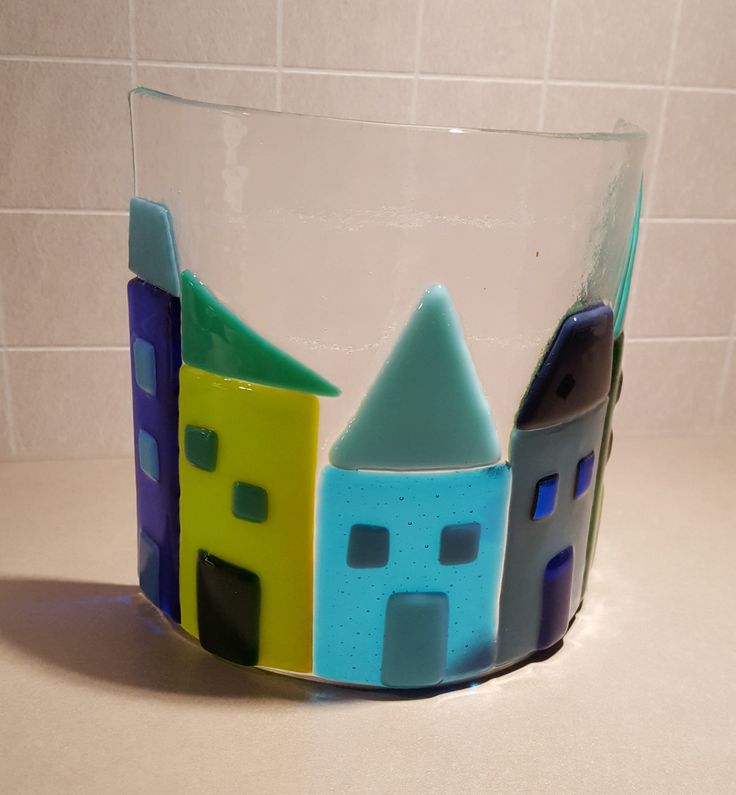 Fused glass. Curved. Houses.