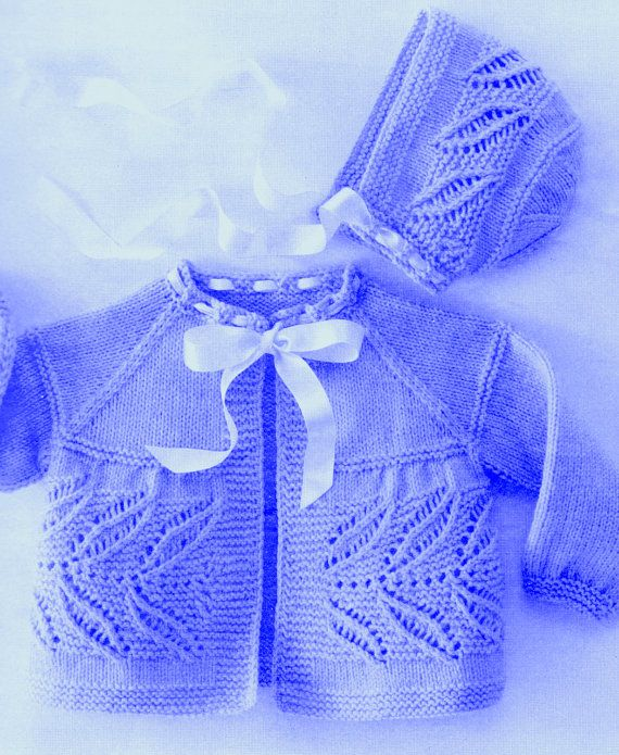 Baby Knitting Pattern for Newborn Baby Sweater and Baby Bonnet Hat with Leaf Motif (PDF) cardigan
