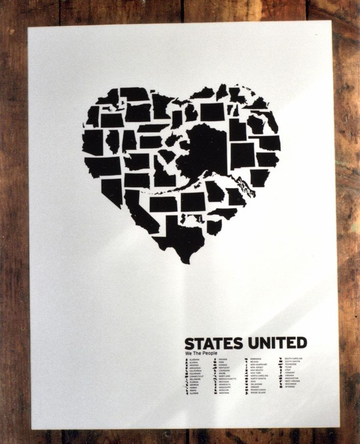 American: Wall Art, Shared Portal, 50 States, Documentation Shared, American Poster, Heart Shapes, States United, U.S. States, United States