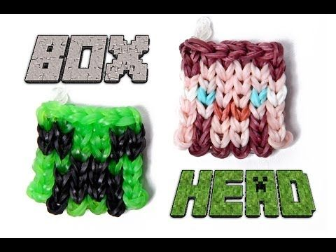 Rainbow Loom BOX HEAD Charm, (Minecraft Steve or Creeper Head). Designed and loomed by justinstoys. Click photo for YouTube tutorial and to download a PDF template.