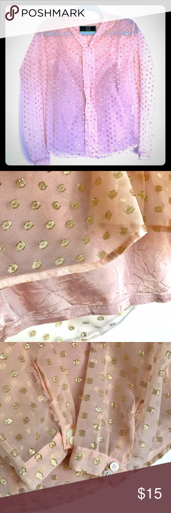 C Wonder sheer pink blouse with gold polka dots 💕 C Wonder sheer pink blouse with removable silky tank top underneath. Fraying happening in cuffs as shown, but can be worn with rolled sleeves to cover (see pic). C Wonder Tops Blouses