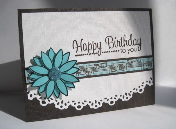 Just a quick one...made 10 cards for my Mom's music group(she's the secretary and sends birthday cards ...), 2 of each of these colors:    ...