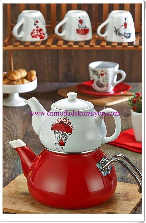 Keramika kırmızı beyaz çaydanlık