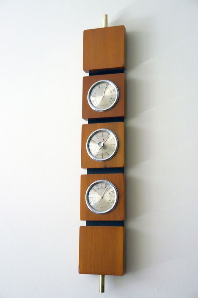 Mid Century Modern Airguide Teak Barometer Weather Station